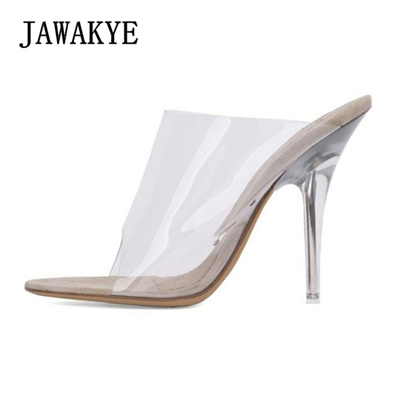 e891ffc9b9d 2018 Open toe Clear High heel Sandals Women PVC Transparent Shoes Summer  Stiletto Clear Mules Slides