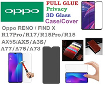 Oppo RENO♥FIND X♥R17pro♥R17♥AX5s♥Full Coverage Tempered Glass Protector♥FULL GLUE♥Cover Case