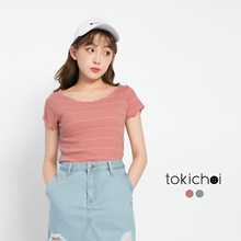 TOKICHOI - Striped Ribbed Basic Top-171332