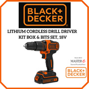 LITHIUM CORDLESS DRILL DRIVER KIT BOX  BITS SET 18V BLACK  DECKER