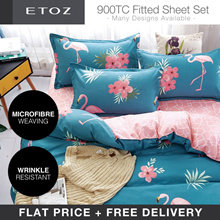[ETOZ] FLAT PRICE 5 NEW DESIGNS! 900 TC Fitted Sheet Set★★Printed Bedsheet