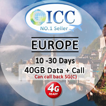 ◆ ICC◆【Europe Sim Card · 10-30 Days】❤40GB+Call❤20GB/10GB/5GB+Call/SMS ❤Can call SG(Plan-C)