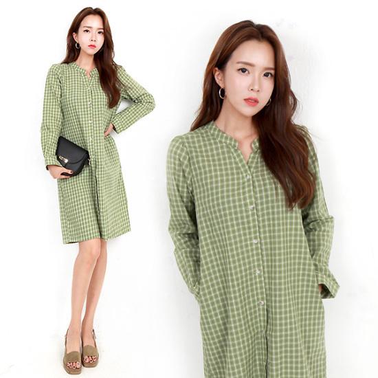 HスタイルLVウォーミングチェックOPSビッグサイズチェックワンピースロングシャツ秋ワンピース プリントのワンピース/ 韓国ファッション