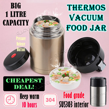 Vacuum Insulated Stainless Steel Thermos Lunch Box Food Jar Soup Flask 1L Thermal