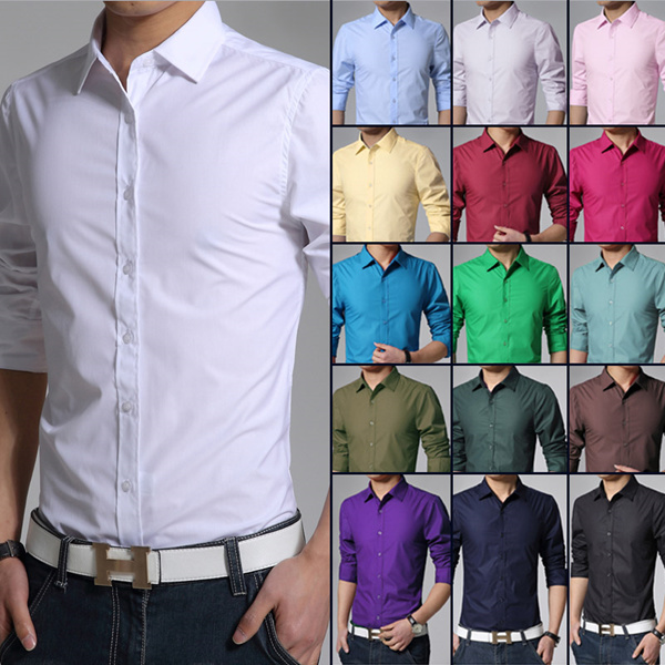 2016 New Long Sleeve Slim Mens Business Shirts Fashion Solid Casual Fit Formal Dress Male Shirt Camisa dress shirts size M-XXXL 17 Colors buffet ssd ps4 car accessories iphone 6s plus casing Table Deals for only S$89 instead of S$0