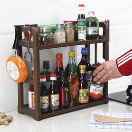 Double-decker kitchen rack Floor seasoning seasoning Shelf Table storage Storage Rack Storage