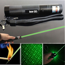 Powerful 303 Green Laser Pointer Pen Adjustable Focus 532nm Lazer Visible Beam JIBA (Size: 1、 Color: