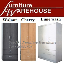 [FURNITURE WAREHOUSE SALE][HOT SELLER] 2 DOOR or 3 DOOR WARDROBE / CABINET [Cherry/Walnut/Lime wash]
