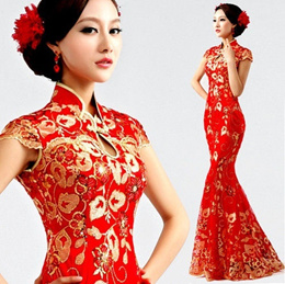 Classic QiPao Cheongsam Long Wedding Dress Chinese Women Dress Evening Dress