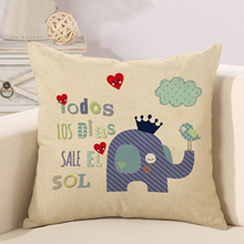 Hot Sale Elephant Cotton linen Pillow Case For office/bedroom/chair seat cushion cover
