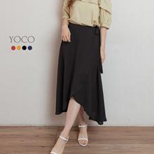 YOCO - Asymmetrical Bow Side Chiffon Midi Skirt-200172
