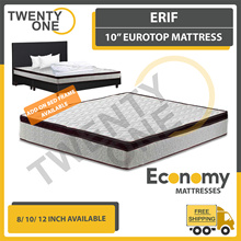 ERIF 10 INCH Euro Top Spring Mattress ( Available in Single 3ft S.Single 3.5ftQueen 5ft King 6Ft)