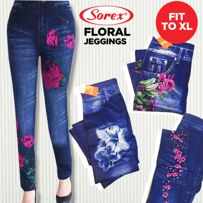 SOREX~LEGGING JEANS MOTIF BUNGA TERBARU!! Deals for only Rp82.000 instead of Rp82.000