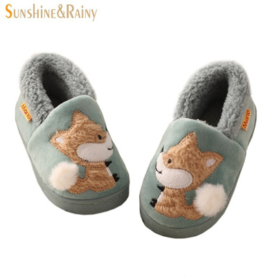 2758c81ea00 SUNNY DREAM Winter Kids Slippers Boys Girls Household Cotton Shoes Cartoon  Little Fox Wooden Floor B