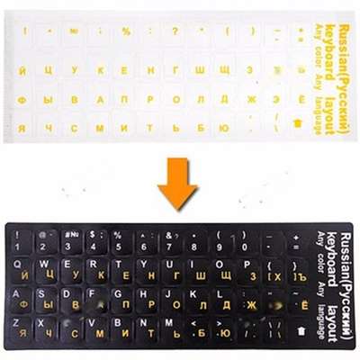 Russian Keyboard Stickers 5 Colors Transparent Waterproof Stickers Durable