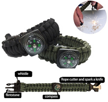 [SG] 4-in-1 Survival Paracord Fire Starter Compass Rope Bracelet Survival Skills Training