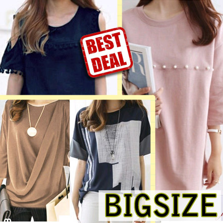 NEW UPDATED!! Korean Fashion Women T-shirt / BIG SIZE / Jumbo Size / Baju Ukuran Besar Deals for only Rp95.000 instead of Rp95.000