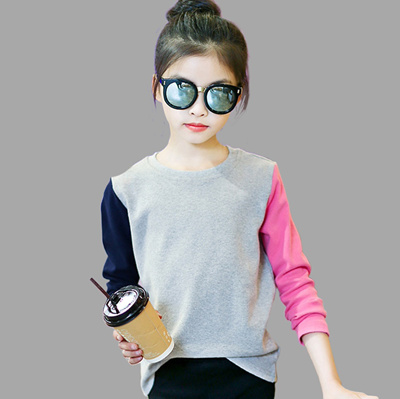 8b58cfebe4f Girls T Shirts Kids Spring Summer Shirts For Girls Long Sleeve Patchwork  Girls T-Shirt