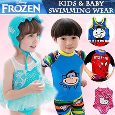Frozen Elsa Spiderman Superhero Superman Bee Korea Baby Boy Kids Swimsuit Bikini  Girls Costumes Cosplay 8cd9d442e760