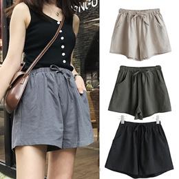 亚麻短裤  PLUS SIZE / shorts/ pants / Casual Pants/ women Flax loose thin  Korea Wide-legged pants