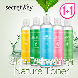 【Secret Key HQ】★Skin Refreshing Nature Toner 1+1★Witch-hazel/Milk/Teatree/Rose/Aloe/Hyaluron