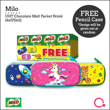 Milo UHT Chocolate Malt Packet Drink 16x125ml (FREE Pencilbox)