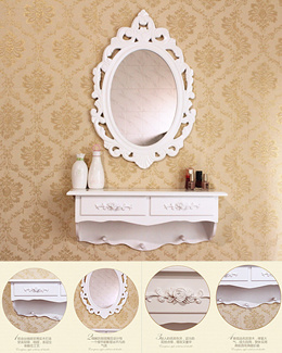 Princess wall mount mirror make up 2pc drawer dressing table cosmetic organizer stool chair