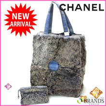 Chanel CHANEL Tote Bag Rabbit Fur Blue × Gray Suede (For Asmoku) (Super Cheap · Instant Delivery) 【Used】 Y094.