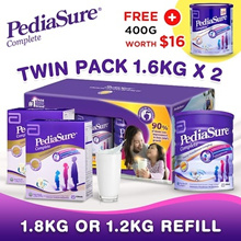 PEDIASURE [TWIN PACK 1.6kg x2 FOC 400g]/1.8kg(Refill) - Vanilla ★MADE IN SINGAPORE FOR MALAYSIA★