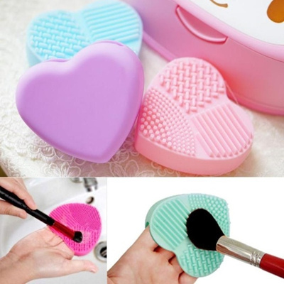 5 Colors Cute Silicone Heart Shape Makeup Brush Cleaner Cosmetic Cleaning Tool Brush Washing