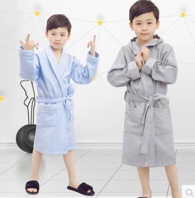 Spring Summer Children Cotton Bathrobe Girls Boys Swimming Robe Kids Bath  Robe Pajamas Night-robe afa5038de