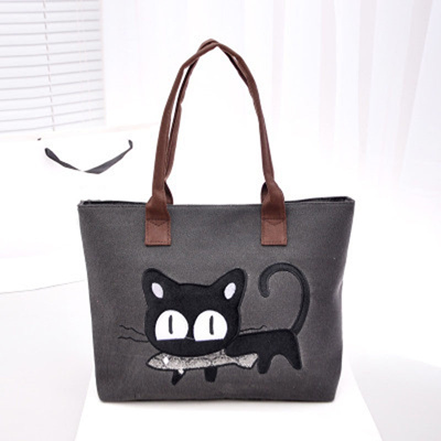 03b907c883f store Canvas shopping bag cute cat supermarket trolley bags large capacity  handbag reusable tote bag
