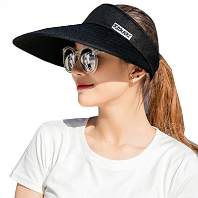 d8d797f7115 Qoo10 - Sun Visor Hats Women 5.5 Large Brim Summer UV Protection ...