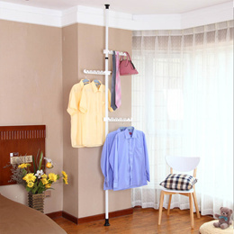 Adjustable non-drill hat clothes stand space saving ceiling rack storage stand pole wardrobe