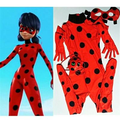 1c8aad1d279 Kids Zip The Miraculous Ladybug Cosplay Costume Halloween Girls Ladybug  Marinette Child Lady Bug Spa