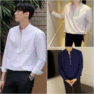 5a98e4c63084a Mens O-ring Zippered Mandarin Collar Casual Shirts Tops Long Sleeves  Stretch Linen Korean Styles