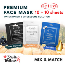 💎Buy 10 FREE 10 💎 Activa Premium Facial Mask 10 Sheets - Black Peel Off/Brightening/Collagen Mask