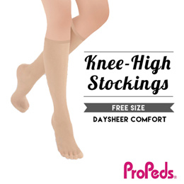 [Propeds] (9118) 20Denier SupportStockings 100%Nylon.Daysheer Knee High. Leg Reinforced 3pairs pack