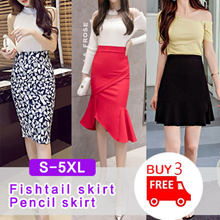 【Buy 3 Free Shipping】★★New Korean fashion dress printed skirt /Fishtail skirt / mini skirt S~5XL