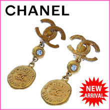 Chanel CHANEL Earrings Accessories Ladies vintage Coco mark gold × clear gold plating × Rhinestone (for tomorrow for easy music) sale good products [pre] Y2434.