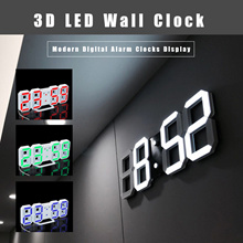 3D LED Wall Clock Modern Digital Alarm Clocks Display Home Kitchen Office Table Desk Wall Clock