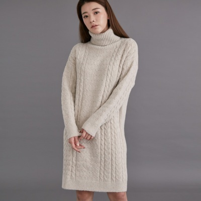 DWO003 Turtle neck twist pola knit derss