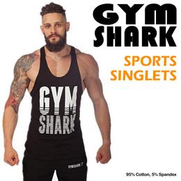 GYM SHARK SINGLETS Workout clothes men top sports cycling vest