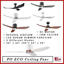 [2018 NEW] PO ECO DC Motor Fan Hugger + Osram LED (3-Tones) Dimming- Reverse Airflow 36/43/46/52/56