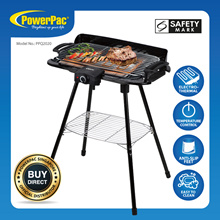 PowerPac Electric BBQ Barbecue Gril  | Table Top  | Adjustable Thermostat | W. Floor Stand (PPQ2020)
