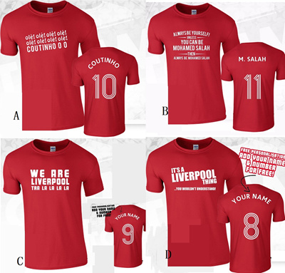 timeless design ab7ef 0ebde Liverpool M Salah Coutinho Ole Ole Print your name supporter tshirt  (4designs)
