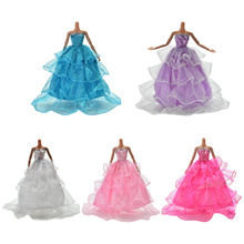 Wedding Dress for Barbies Doll Beautiful Trailing Skirt Wedding Dress 5 Colors