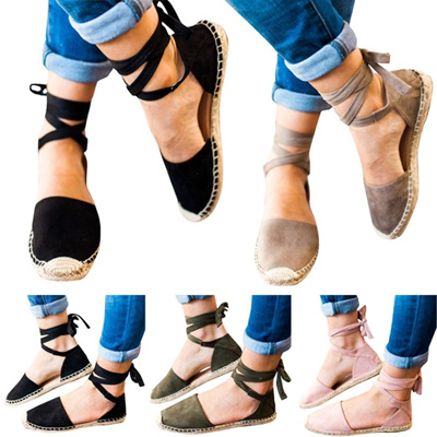 2df594ac6 New Summer Women s Fashion Comfortable Flat Sandals Solid Casual Lace Up  Shoes Sexy Ankle Strap