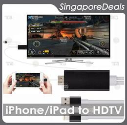 Lightning to HDMI HDTV TV Cable Adapter for Apple iPad iPhone Movies Video Photo on TV AV AV3