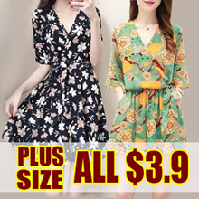 ▶▶Special Offer  $3.9 ▶▶  / Last Today Only /  2018 NEW PLUS SIZE FASHION LADY DRESS